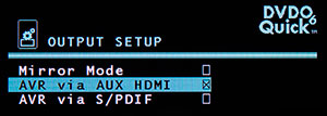 DVDO Quick6 Output Setup Menu