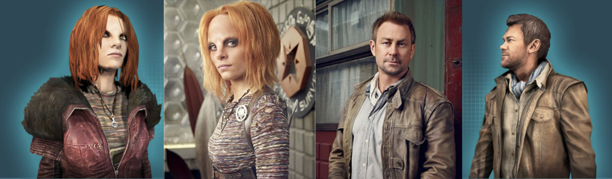 Defiance Game's next to TV's Nolan and Irisa