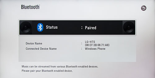 LG LAB540W Bluetooth Menu